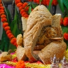 ganpati from bread (double roti)